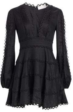 Zimmermann Heathers Flounce Plunge Front Dress