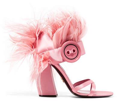 Prada - Feather-trimmed Satin Sandals - Baby pink