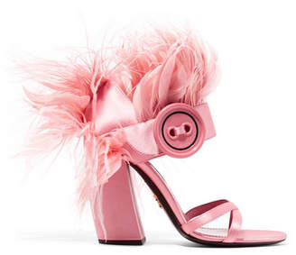 Feather-trimmed Satin Sandals - Baby pink