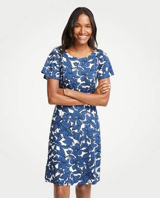 Ann Taylor Petite Iris Short Sleeve Flare Dress