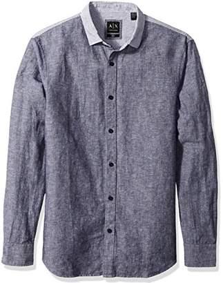 Armani Exchange A|X Men's Cotton Linen Tonal Stripe Shirt