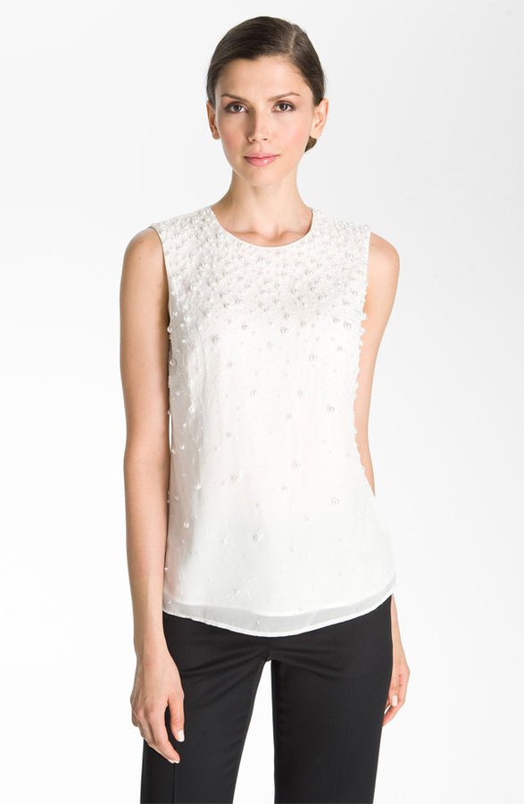 St. John Collection Beaded Silk Top