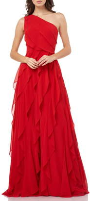 Carmen Marc Valvo One-Shoulder Ruffle Chiffon Gown
