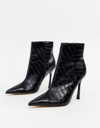 eea76d46356 Asos Design DESIGN Evon leather heeled boots in black croc