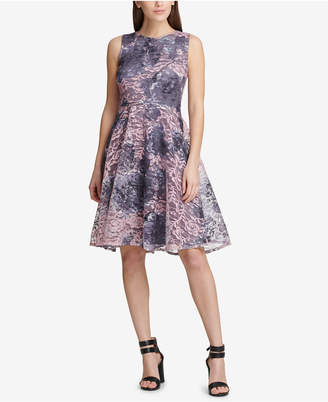 DKNY (ディー ケー エヌワイ) - Dkny Printed Lace Fit & Flare Dress, Created for Macy's
