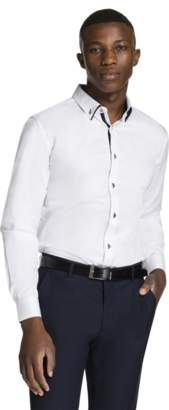 yd. WHITE LUXE SLIM FIT DRESS SHIRT