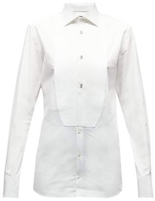 Dolce & Gabbana Crystal Studded Cotton Poplin Tuxedo Shirt - Womens - White