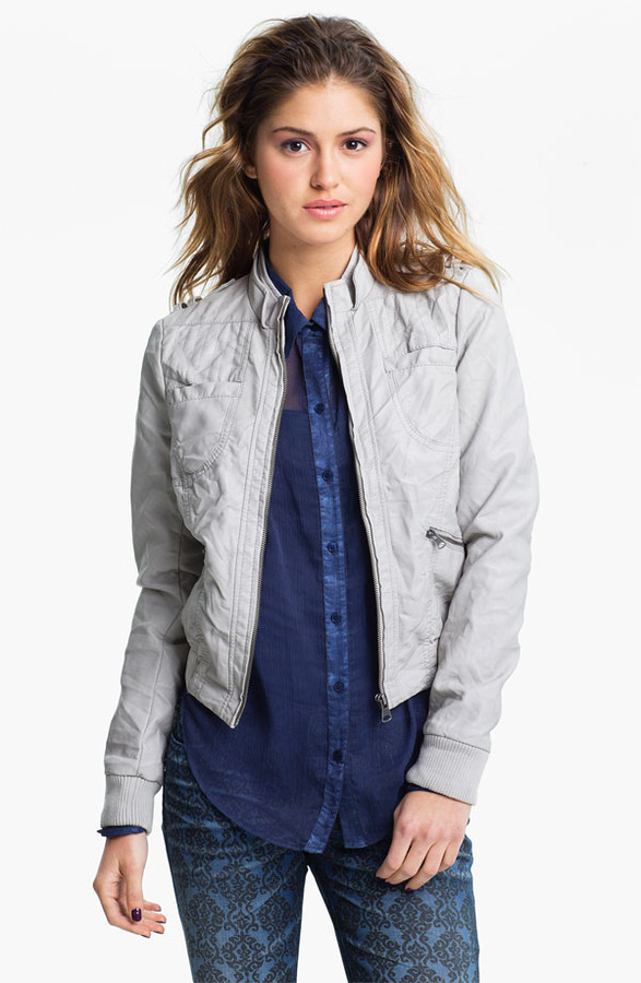 Collection B Faux Leather Moto Jacket (Juniors)