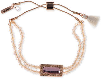 lonna & lilly Rose Gold-Tone Beaded Slider Bracelet