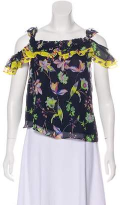Tanya Taylor Silk Floral Crop Top