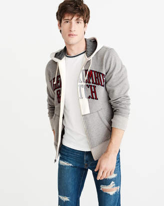 Abercrombie & Fitch Deconstructed Full-Zip Logo Hoodie