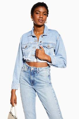 Topshop Cropped Ripped Denim Jacket