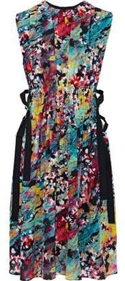 M Missoni Pleated Printed Silk Crepe De Chine Dress