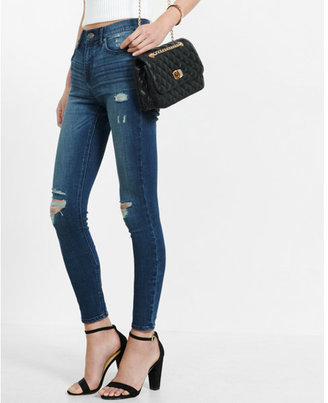Express dark wash high waisted distressed jean leggings $79.90 thestylecure.com