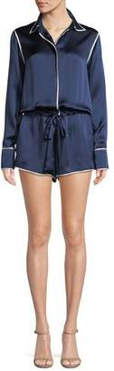 Alexis Lareyne Long-Sleeve Silk Romper