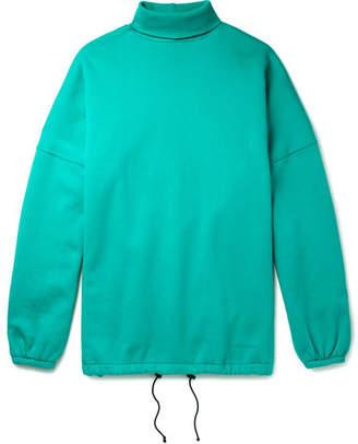 Balenciaga Oversized Fleece-Back Cotton-Blend Jersey Rollneck Sweatshirt