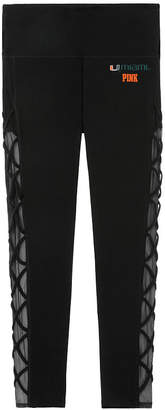 PINK University of Miami Cotton High Waist Lace-Up Mesh Ankle Legging