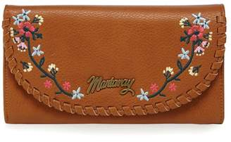 Mantaray Tan Whipstitch Floral Embroidered Large Purse