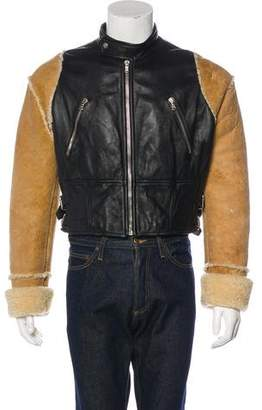 Dolce & Gabbana Leather & Shearling Cropped Jacket