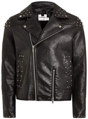 Topman Mens Black Studded Faux Leather Biker Jacket