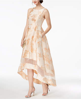 Adrianna Papell Metallic Jacquard High-Low Gown