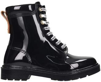 See by Chloe Combat Boots In Black Rubber/plasic