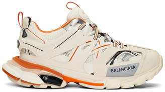 Balenciaga Off-White and Orange Track Runners Sneakers