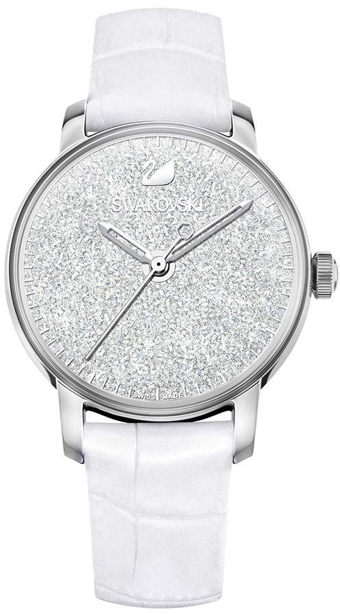 Crystalline Hours Watch, Leather strap, White, Silver tone