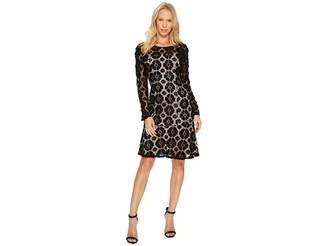 Adrianna Papell Textural Floral and Dot Lace Sheath Dress with Flounce Hem Women's Dress