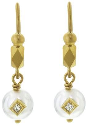 Cathy Waterman Embedded Diamond and Pearl Drop Earrings