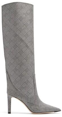Jimmy Choo Mavis 85 Metallic Knee High Boots - Womens - Silver
