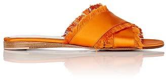 Gianvito Rossi Women's Barth Satin Slide Sandals $645 thestylecure.com