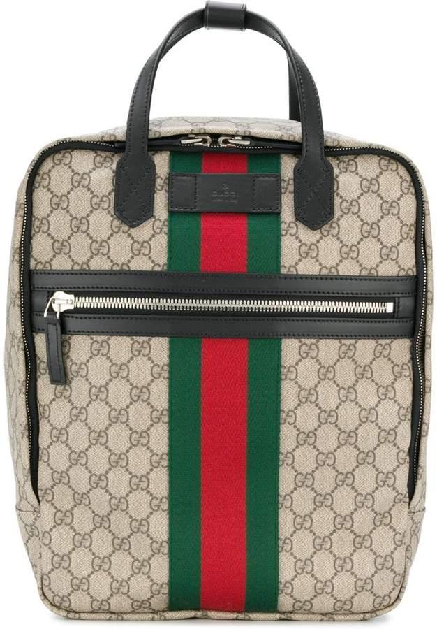Gucci ウェブトリム GGスプリーム バックパック - ShopStyle リュックサック 8bead8d3992af