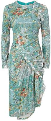 Preen Daisy Ruched Sequin Dress