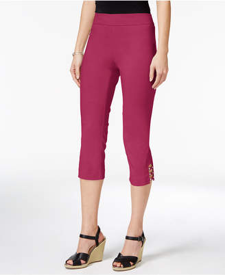 JM Collection Petite Tummy-Control Lattice-Hem Capri Pants, Created for Macy's