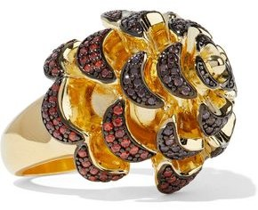 Noir Pinecone 14-karat Gold-plated Crystal Ring