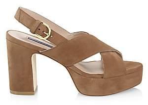 Stuart Weitzman Women's Jerry Platform Suede Sandals