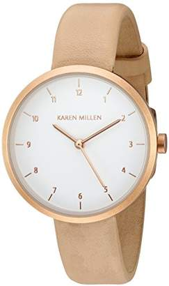 Karen Millen Women's Quartz Brass-Plated-Stainless-Steel and Leather Dress Watch
