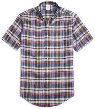 Brooks Brothers Madison Fit Green Plaid Linen Short-Sleeve Sport Shirt