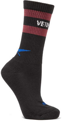 Vetements Reebok Intarsia Ribbed Cotton-blend Socks - Black