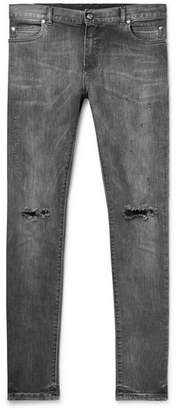 Balmain Skinny-Fit Distressed Stretch-Denim Jeans - Men - Black