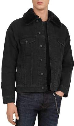 The Kooples Denim Jacket with Faux-Fur Collar