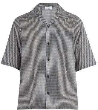 Raey Short Sleeved Gingham Shirt - Mens - Navy