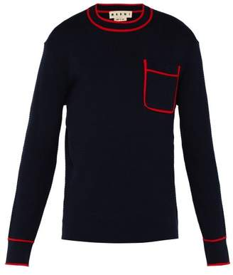 Marni Patch Pocket Cotton Blend Sweater - Mens - Navy