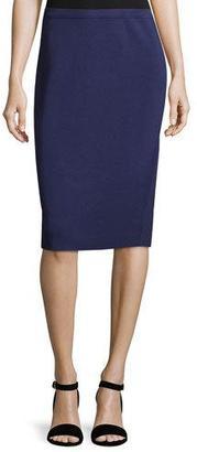 Eileen Fisher Silk-Cotton Straight Skirt, Dark Night $145 thestylecure.com