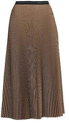 Prada Women's Menswear Plaid Wool-Blend Plissé Midi Skirt
