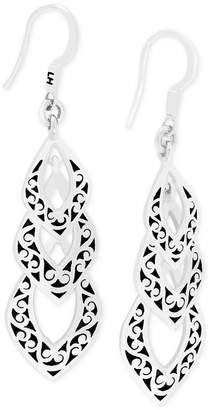 Lois Hill Decorative Scroll Triple Drop Earrings in Sterling Silver