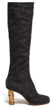 Vetements Geisha Split Toe Coin Heel Jacquard Boots - Womens - Black