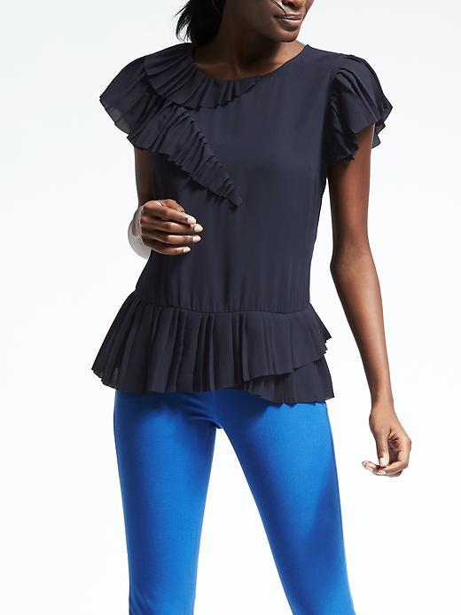 Banana Republic  Easy Care Pleat Peplum Top