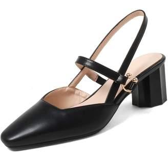5b54e68a412 KingRover Women s Elegant Square Toe Crisscross Buckle Straps Slingback  High Block Heel Pumps